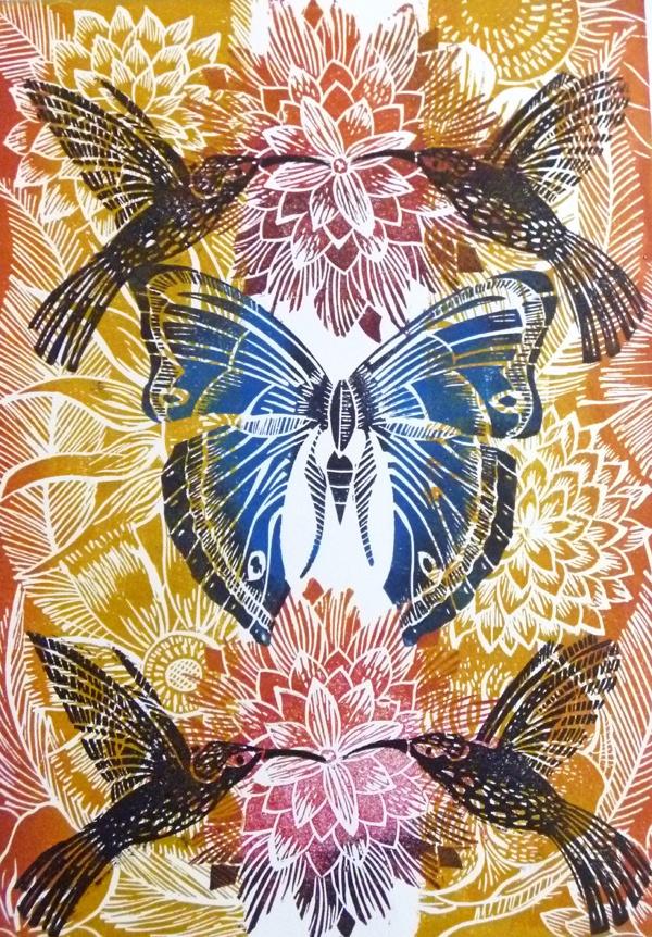 Hummingbirds and Butterfly Original Lino Cut Print Amanda Colville
