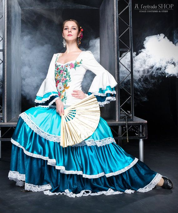 Spanish flamenco dress. Dance dress flamenco. Dress with flowers  !ONLY TO ORDER!