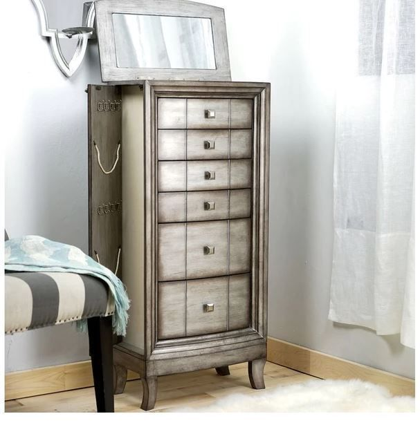 Jewelry Armoire Stand Up Box Mirror Vintage Antique Silver Chest Cabinet Bedroom Standing Jewelry Armoire Jewelry Armoire Cleaning Jewelry