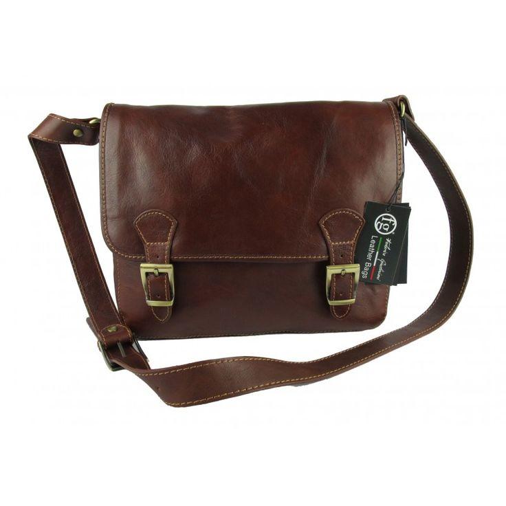 borsa da lavoro organizer tracolla unisex vera pelle made in italy marrone - FG Italian Leather Bags