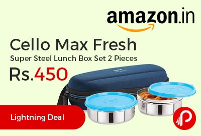 Amazon #LightningDeal is offering 22% off on Cello Max Fresh Super Steel Lunch Box Set 2 Pieces at Rs.450 Only. Superior quality stainless steel leak proof containers, compact size, Additional pocket inside for keeping paper napkin spoon or fork, Easy to clean fabric jacket, keeps food fresh for long hours, Freezer and dishwasher safe.  http://www.paisebachaoindia.com/cello-max-fresh-super-steel-lunch-box-set-2-pieces-at-rs-450-only-amazon/
