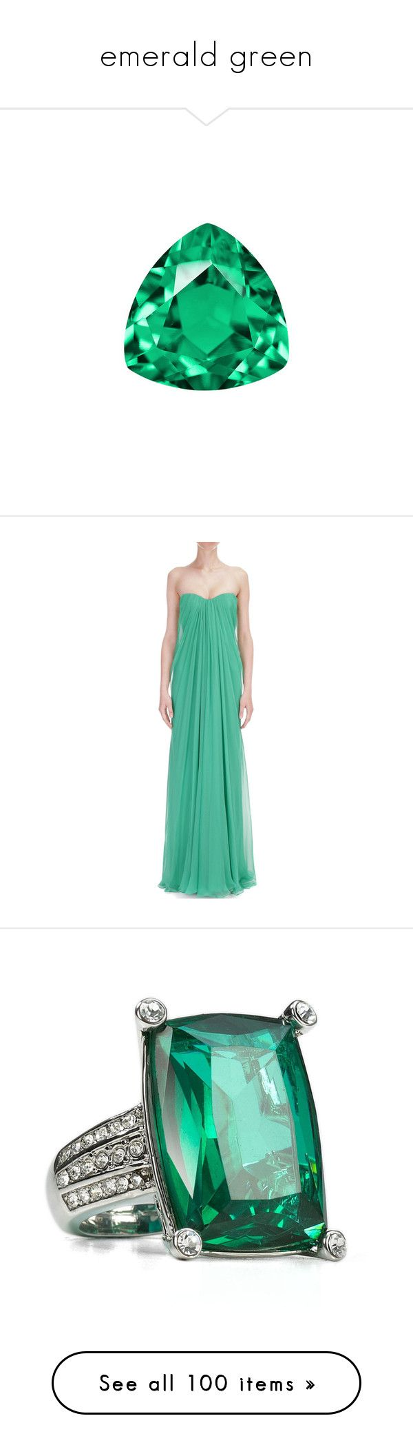 """emerald green"" by darlingchick ❤ liked on Polyvore featuring dresses, gowns, emerald, emerald dress, draped gown, green evening gown, emerald green evening gown, emerald green gown, jewelry and rings"
