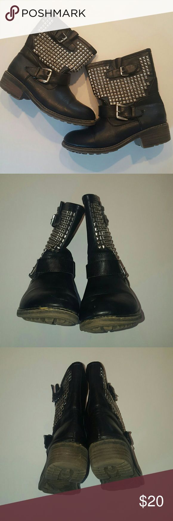Studded Motor Biker Boots Black Similar Style to Ash boots, NOT ASH BOOTS!! Rubber sole, Synthetic Textile Upper. Good Condition. True to Size. Ash Shoes Combat & Moto Boots