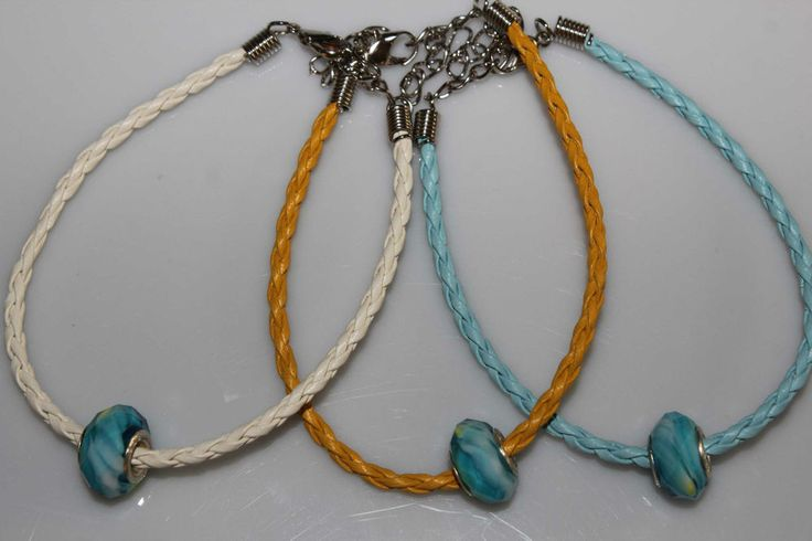 Leather look braided bracelet with faceted blue bead summer boho style