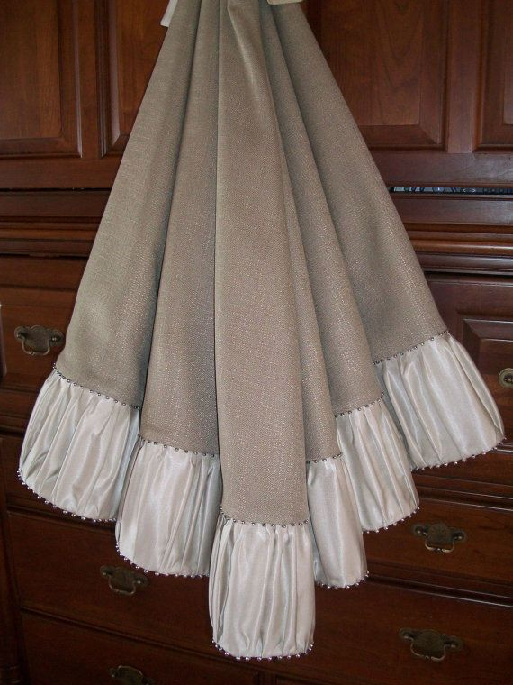 Stunning Frosted Silver Satin And Grey Linen Christmas Tree Skirt 2014 Collection