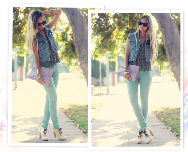 Liz from Late Afternoon creates a chic #summer look in our Forest Tapestry Crocheted Top and #mint jeans