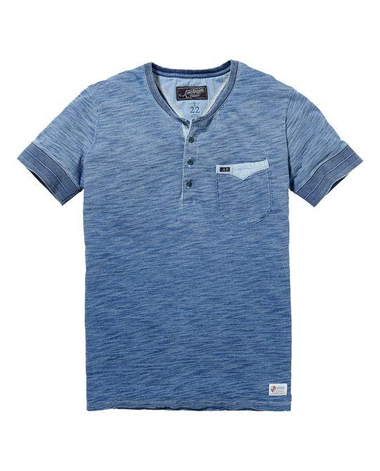 Indigo granddad-shirt met korte mouwen|T-shirt s/s|Mannenkleding bij Scotch & Soda