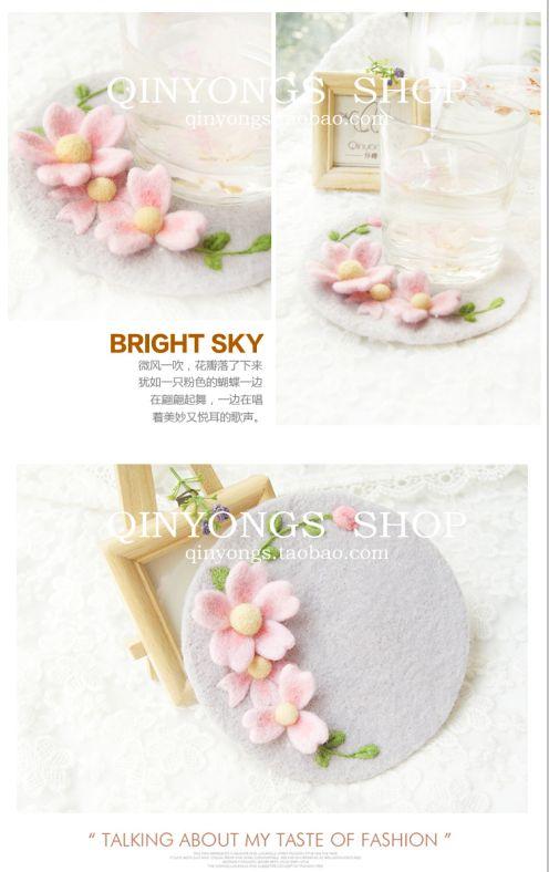 仟樱羊毛毡手工樱花杯垫qinyongs Wool felt coasters Sakura