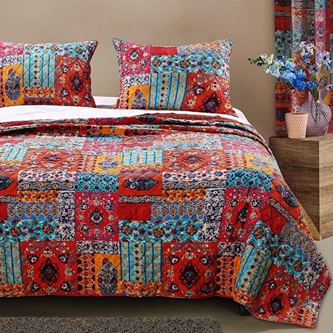 Bohemian Bedding Boho Chic Quilt Set Comforter Hippie Mandala Bedspread Lightweight Reversible Oversized 3 Piece W Quilt Sets Hippie Bedding Mattress Furniture