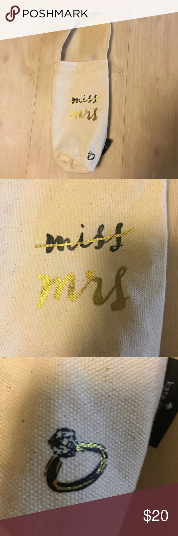 kate spade Miss Mrs canvas wine champagne tote bag kate spade Bridal Gift bag Miss Mrs canvas champagne/wine  tote bag kate spade Bags Totes