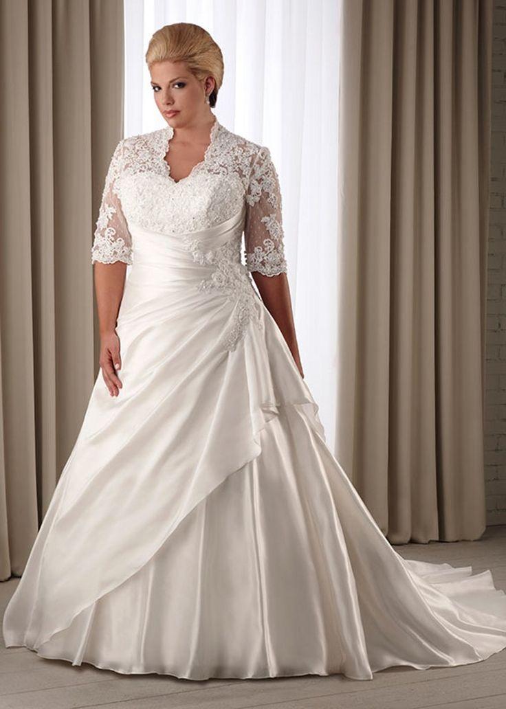 Вл шейного шнурка половина рукавом скромные Большой размер платья для Bridals кот атласная свадебные платья