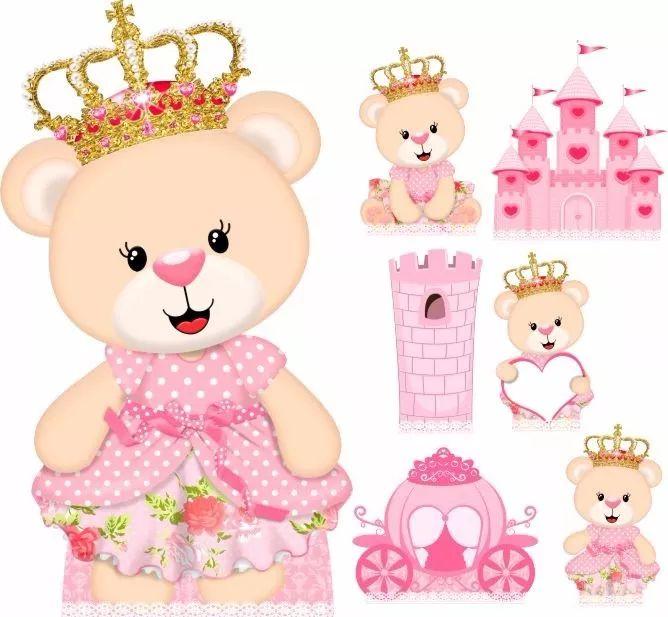 kit festa totem chão e display decor ursinha princesa 7und
