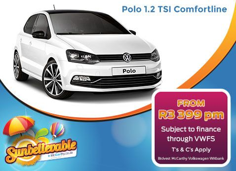 Volkswagen POLO 1.2 TSI COMFORTLINE | From R3 399 per month & subject to finance through VW Financial Services. Only available from Bidvest McCarthy VW Witbank in Mpumalanga, South Africa.