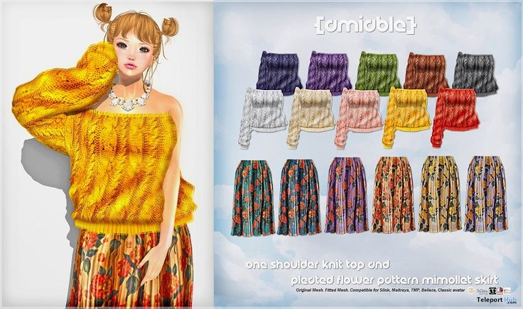 One-shoulder Knit & Flower Pattern Mimollet Skirt 125L Promo by {amiable}