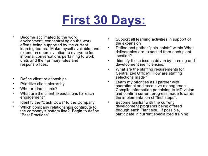 30 60 90 days plan to meet goals for new organization