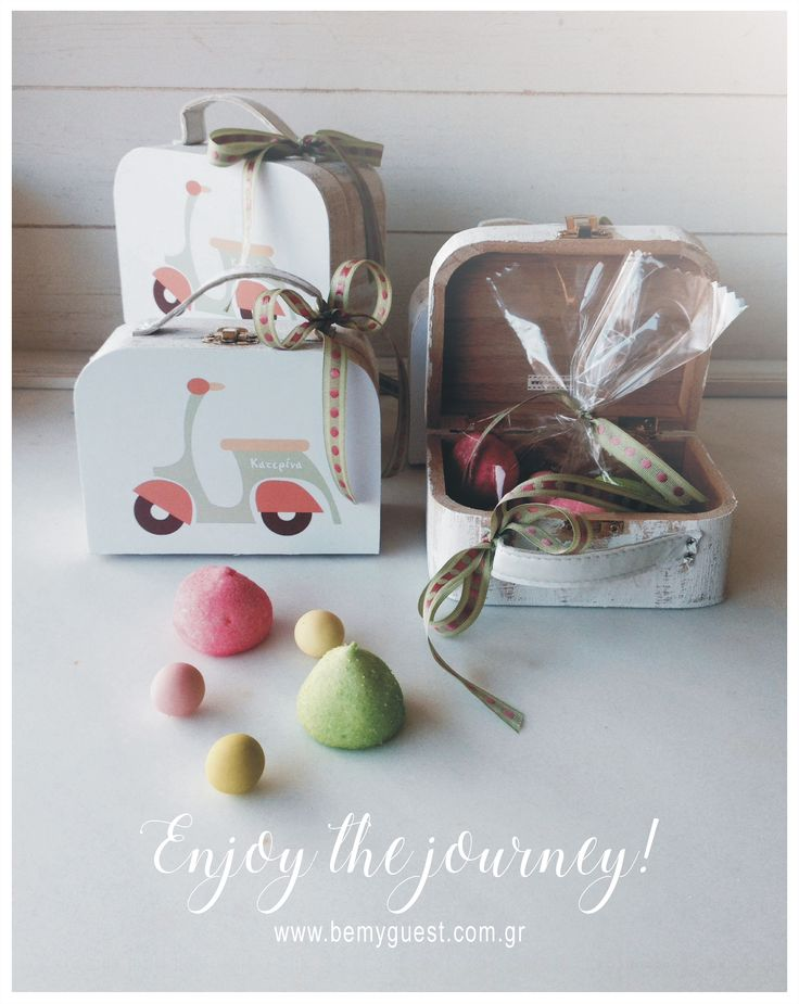 give away gifts | christening favors | mini wooden suitcases | www.bemyguest.com.gr