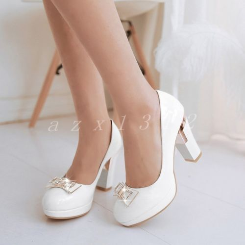 Koreans Ladies Faux Leather Round Toe Block High Heel Slip On Party Womens Shoes