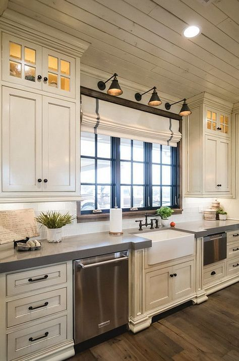 nice Off white kitchen with grey quartz countertop. The surrounding countertops are G... by http://www.best99homedecorpictures.xyz/kitchen-designs/off-white-kitchen-with-grey-quartz-countertop-the-surrounding-countertops-are-g/