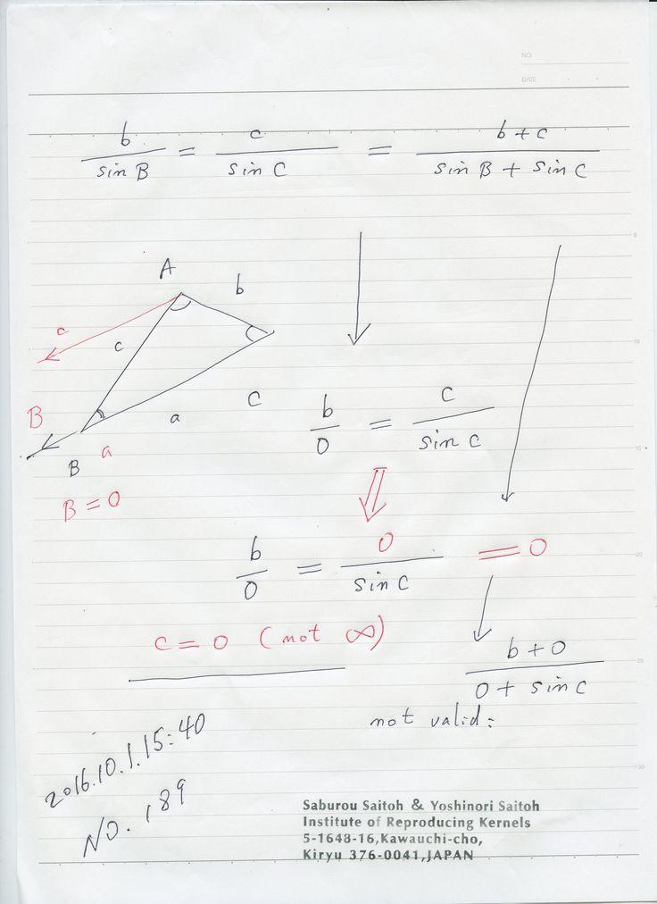 520-189:  確定的な無限は存在せず、無限は極限値として意味を持つ ー 原理 添付の場合、c,a は従来では無限と考えられてきましたが、実はゼロだった.ゼロ除算を含む場合、加比の法則は一般に成り立たない、ゼロ除算は普通の分数ではない: