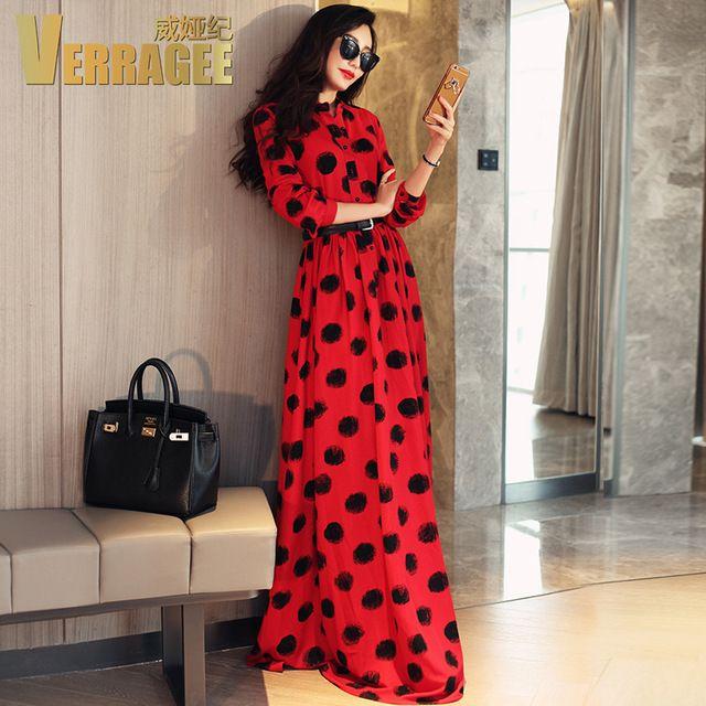 Verragee Femmes D'été Automne Longue Robe De Mode Noir Dot Imprimer rouge En Mousseline de Soie Robe Mince Partie Robes Longues Maxi Plus La Taille robe