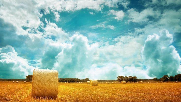 Clouds, Sky, Fields, Hay Farm