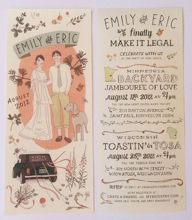 Cute wedding invitation by illustrator Emily McDowell
