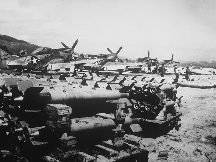 F-51s of the 67th FBS, 18th FBG being loaded up in October 1951. The aircraft furthest to the left was shot down on January 1, 1952. The pilot survived