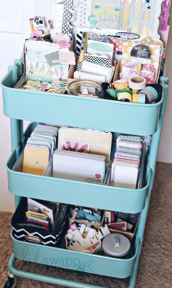 Use a colorful cart for your crafting organization! So pretty and useful.