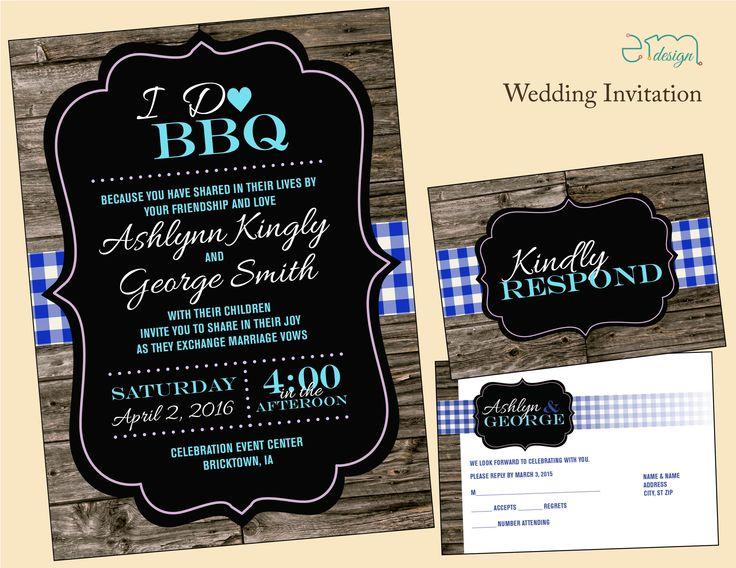 Country BBQ Wedding Invitation Countrywedding Emdesignwedding