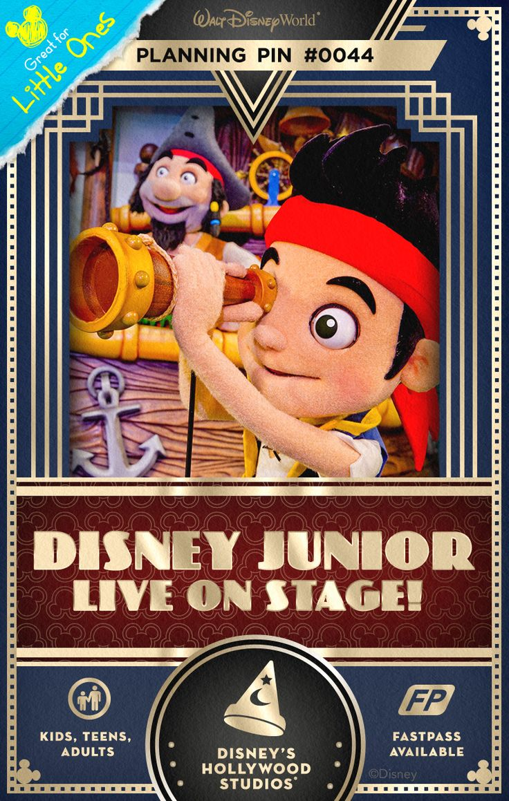 Walt Disney World Planning Pins: Get excited as Mickey, Minnie and friends from Mickey Mouse Clubhouse appear on stage to kick things off. Learn about teamwork and friendship through stories featuring up-and-coming Princess Sofia and Doc McStuffins and her plush play pals. Then help Jake and his band of Never Land Pirates thwart the diabolical Captain Hook and Mr. Smee.