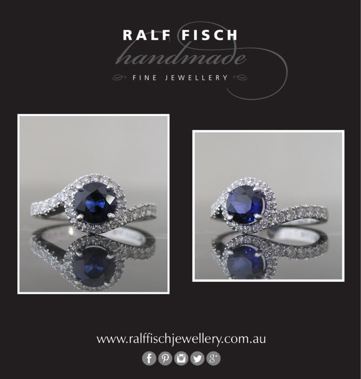 18ct white gold handmade Ceylon sapphire dress ring with claw set round brilliant cut diamonds. Made low to the finger to suit a practical lifestyle, the band on this ring flawlessly flows into the cluster surrounding the sapphire.