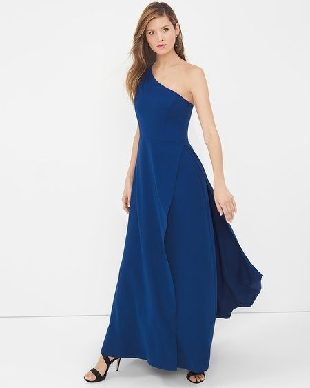 """A look from our Inauguration Collection. A glamorous gown, in a regal shade of blue, gets an extra touch of smolder with a chic cold-shoulder. Chandelier earrings and strappy heels complete the look.    One-shoulder gown  Invisible back zip with hook-and-eye closure Lined Approx. 61"""" from shoulder 100% polyester. Machine wash cold. Imported"""