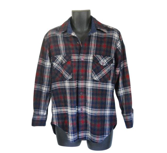 Lumbersexual Wool Flannel Shirt Men Flannel by #ShineBrightVintage