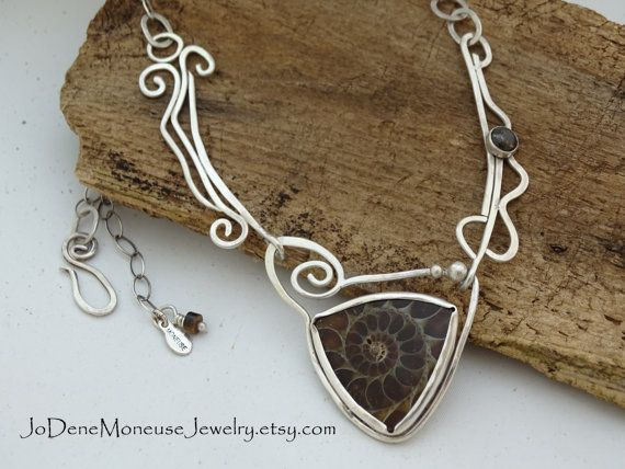 Sterling silver and Ammonite swirl by JoDeneMoneuseJewelry on Etsy