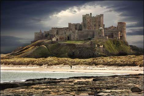 Bamburgh Castle located on the beautiful coastline