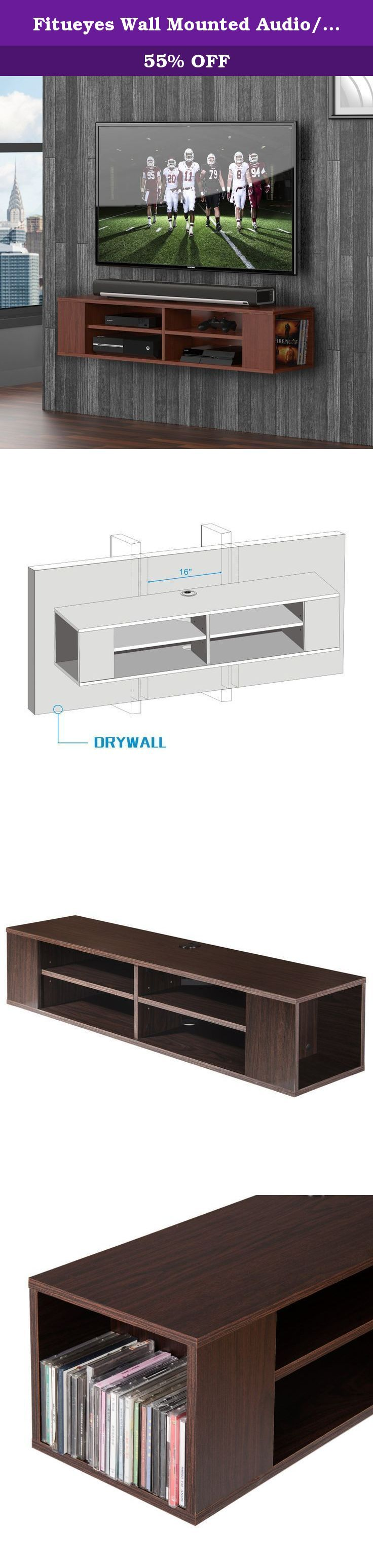 Fitueyes Wall Mounted Audio/Video Console wood grain for xbox one /PS4/ vizio/ Sumsung/sony TV DS212001WB-G. Give any room a dash of modern style with our Fitueyes Wall Mounted Audio/Video Console. Finished in goes-with-everything Walnut, this sleek yet functional console offers two generous storage compartments. The main shelf is 48-inch length, providing ample space for your cable box, DVR or other media components.Cables are neatly concealed to give the console a professional…