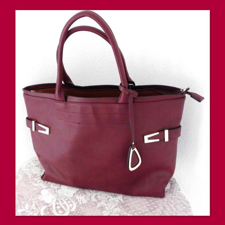 DAVID JONES Faux Leather Maroon Zip-Top Tote Handbag Shoulder Bag #DavidJones #TotesShoppers