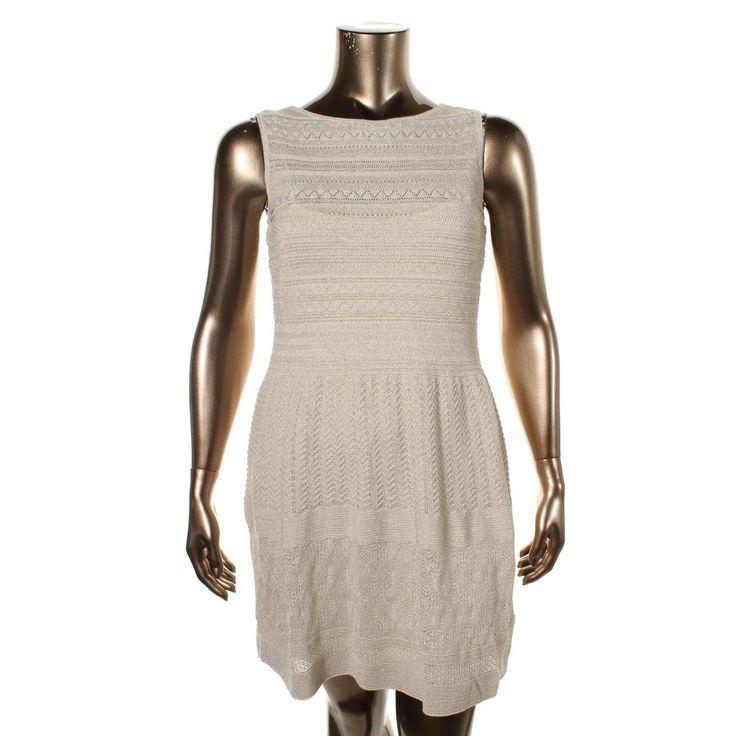 Lauren Ralph Lauren Womens Petites Metallic Sleeveless Cocktail Dress