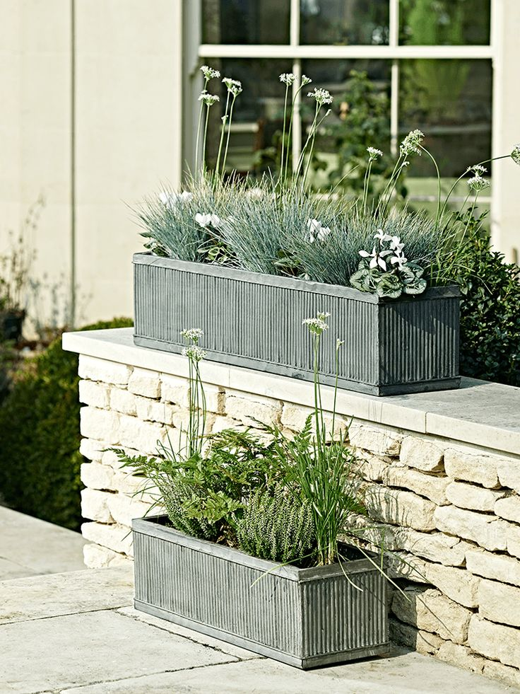 Made from weatherproof steel with an attractive zinc plating, our lightweight trough planters are fluted with a galvanised finish. These long, slim planters are perfect for displaying below a window or along a wall and, if you are planting directly into the trough, holes can be easily drilled into the base for extra drainage. Fill with your favourite flowers or an array of shrubs and trailing plants.