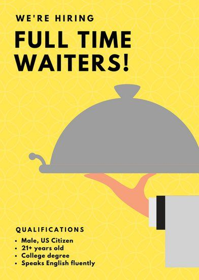 Yellow Illustrated Waiter Job Vacancy Announcement  poster  Hiring poster Poster layout
