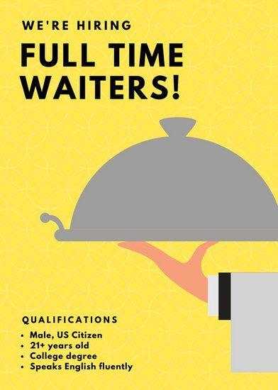 yellow illustrated waiter job vacancy announcement