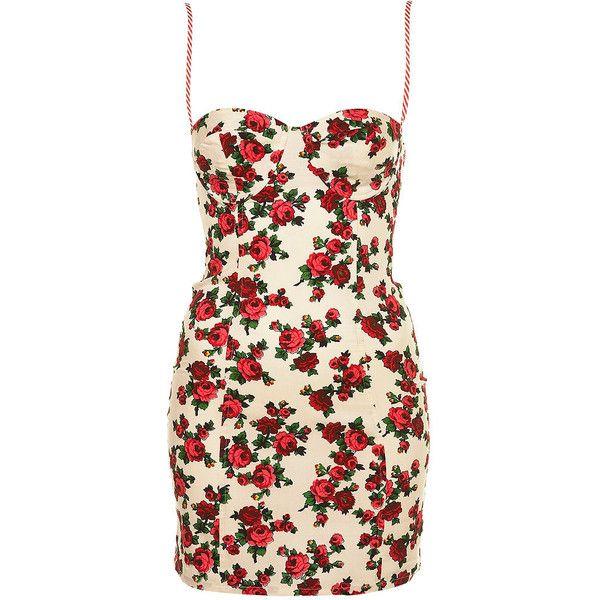Fluro Rose Dress (925 ZAR) ❤ liked on Polyvore featuring dresses, vestidos, sukienki, floral, floral printed dress, body conscious dress, flower print dress, floral pattern dress and cotton floral dress