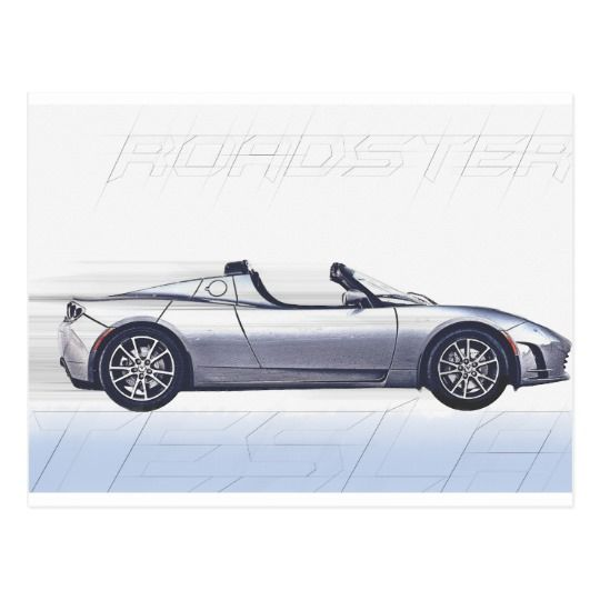 Tesla Roadster Postcard available at Zazzle