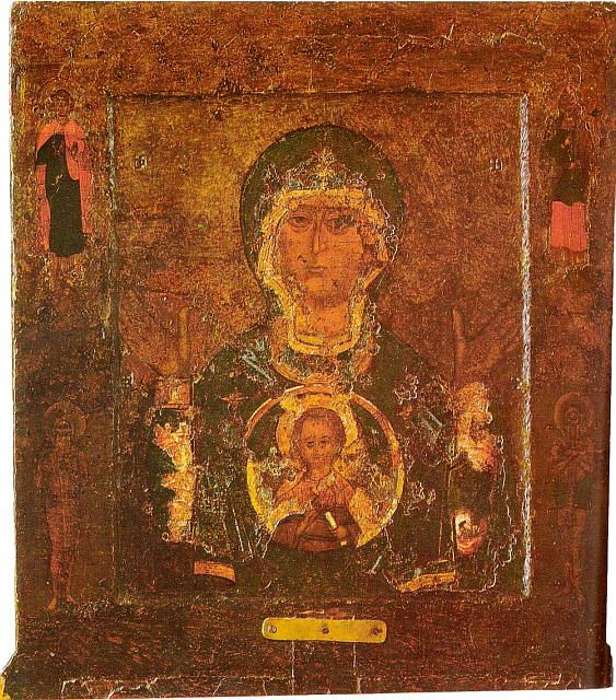 Cathedral of St. Sophia, Novgorod, Russia: Close up of Our Lady of the Sign, an icon credited with saving Novgorod from Andrei Bogolyubsky's troops in 1170.