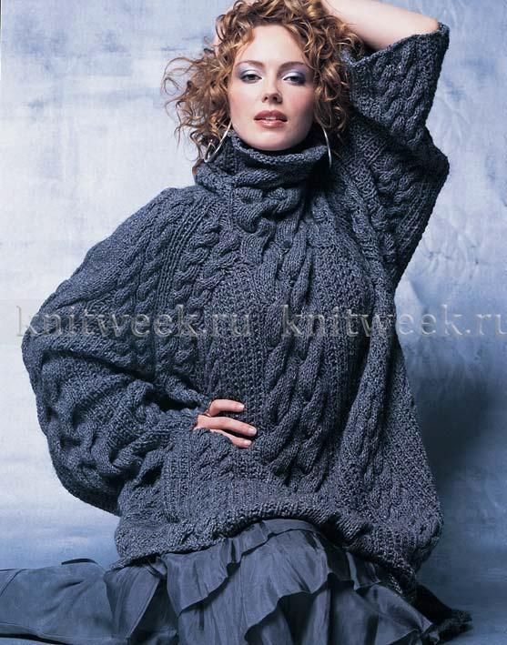 Пуловер со жгутами оверсайз