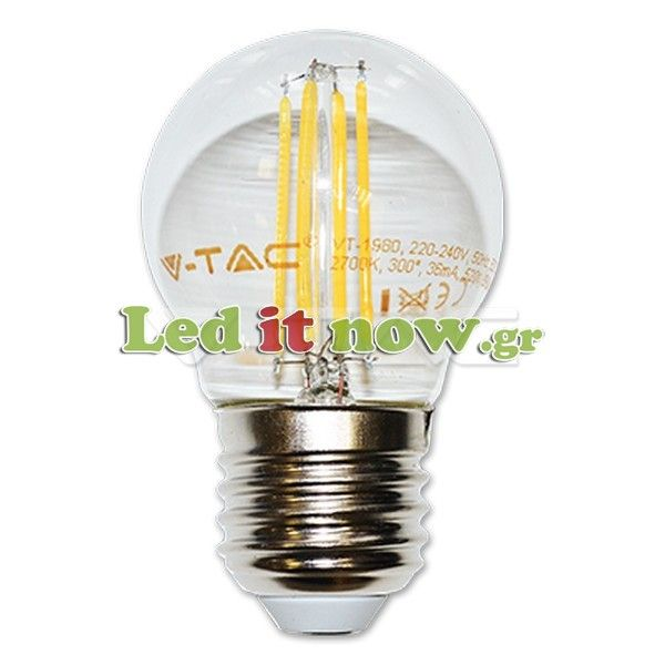 LED V-TAC Λάμπα Ε27 4W (G45) Retro Look Edison