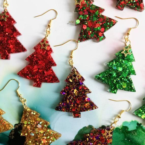 FREE SHIPPING Cute Handmade Glittered Christmas Resin Earrings