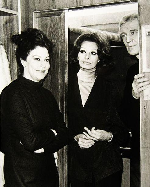 "Ava Gardner, Sophia Loren and Richard Harris on the set of ""The Cassandra Crossing"" Dir. G. Pan Cosmatos, 1976."