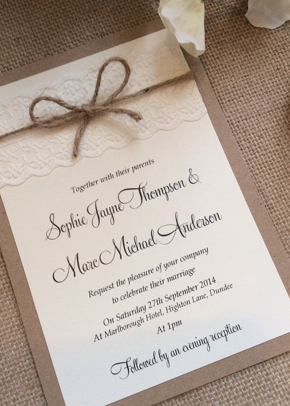 Vintage/Rustic Lace wedding invitation with twine – Sophie-Lace range