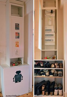 Inspiration hacks de meubles ikea - un cache-compteur & range chaussures avec une etagere billy et un meuble de cuisine DIY - auseychelles.fr